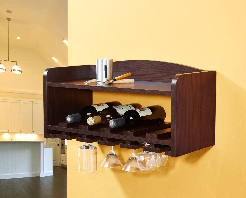 Furniture of America Bevanda Wall-Mounting Wine and Glass Rack, Walnut by Furniture of America