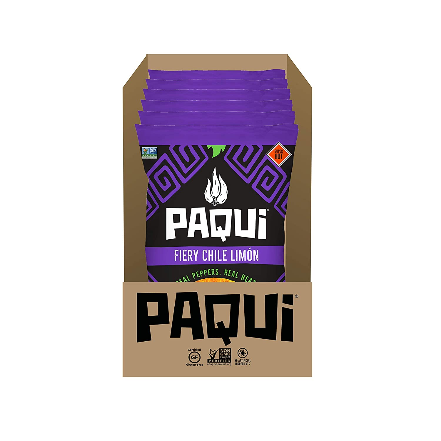 Paqui Fiery Chile Limón Spicy Tortilla Chips, 6ct, 2oz Individual Snack Sized Bags