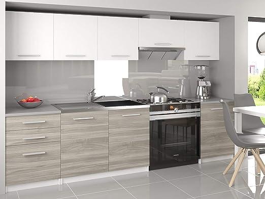 Tarraco Comercial Muebles de Cocina Completa Unica Blanco/Gris 240 cm: Amazon.es: Hogar