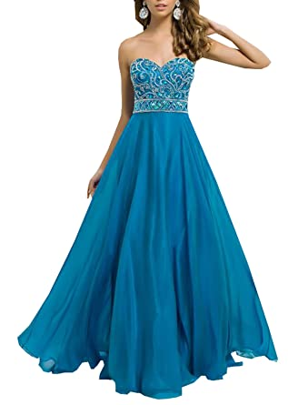 Harshori a Line Sweetheart Chiffon Formal Long Prom Dress with Beads 2 Blue