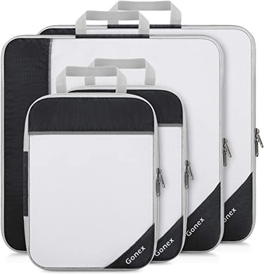 4Pcs Home Travel Portable Mesh Zipper Totes Clothes Storage Bag Packing Cube Q