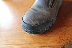 After light use, toe stitching wears off and rubber peals down