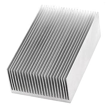 SOURCING Map Aluminio Calentador Radiador Disipador Térmico Aleta De Enfriamiento 110x69x36mm Plata Tono