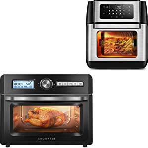 CROWNFUL 9-in-1 Air Fryer Toaster Oven and 19 Quart Air Fryer Toaster Oven, Convection Roaster with Rotisserie & Dehydrator