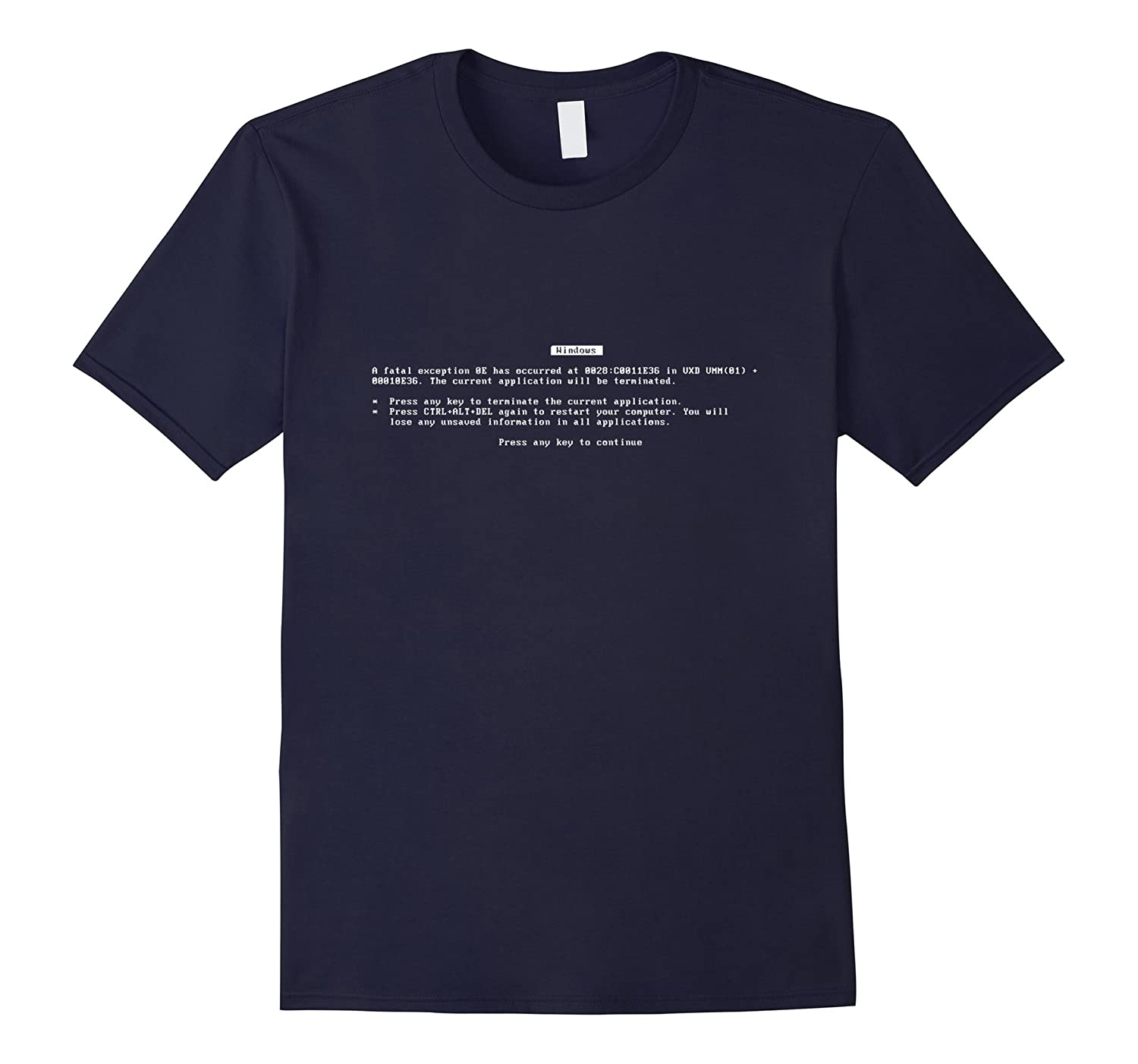 Blue Screen Of Death BSoD Error Screen Geek Freak T-Shirt-TJ