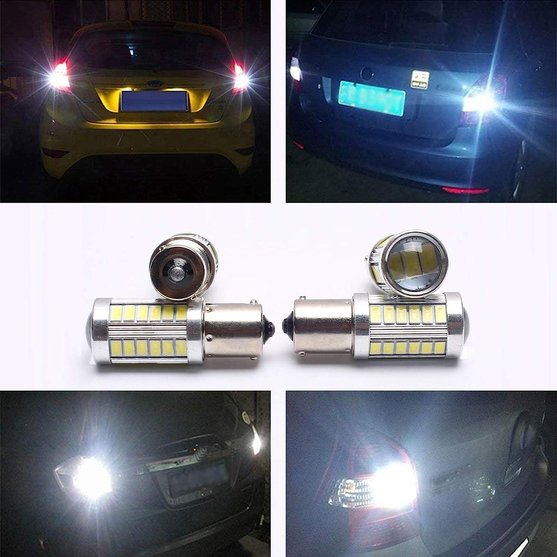PeakCar 4pcs 1156 BA15S LED Bulbs Super Bright 6000K White 5630 33-SMD 1141 1073 7506 Replacement Lamps for Brake Turn Signal Back Up Reverse Parking Light Side Marker Bulb RV Lights DC 12V