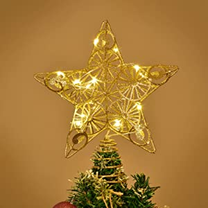 DearHouse 10.5 Inch Christmas Tree Topper with 15 LED Lights, Gold Lighted Treetop Christmas Tree Decoration Star Tree Topper Glittered Christmas Tree Decorations for Indoor Home Décor