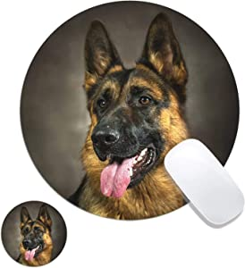 Round Mouse Pad, German Shepherd Dog Customized Designs Non-Slip Rubber Base Gaming Mouse Pads and Coaster Set for Mac, PC, Computers. Ideal for Working Or Game 7.9x7.9inch