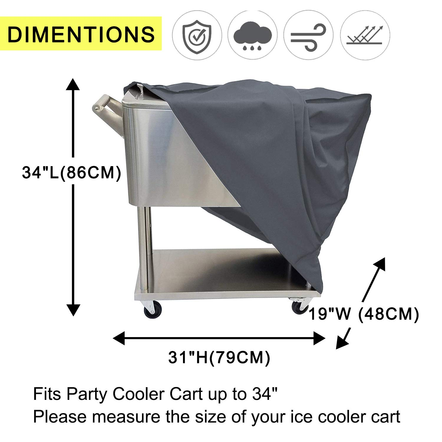 Cooler Cart Cover Universal 80 Quart Rolling Ice Cooler Cover Pool Cool Cover