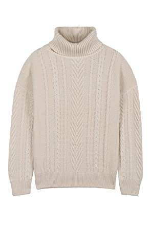 Pink Queen Women s 100% Cotton Turtlenck Aran Cable Knit Pullover Sweater  Apricot S 870702d46