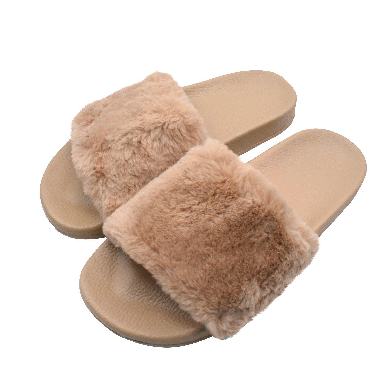 COFACE Damen Hausschuh Weiche Flache Sandalen Flauschige mit Süßer Plüsch Pantoffel Outdoor/Indoor in 5 Farben  36 EU|Khaki