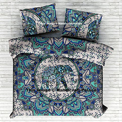 Elephant Mandala Comforter Queen Quilt Cover Set Cotton Handmade By Handicraftspalace