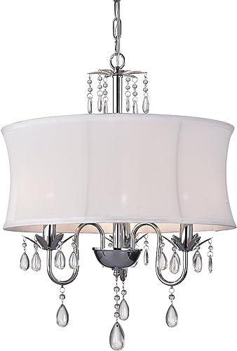 Edvivi 3-Light Chrome Finish White Fabric Drum Crystal Chandelier Ceiling Pendant Glam Lighting