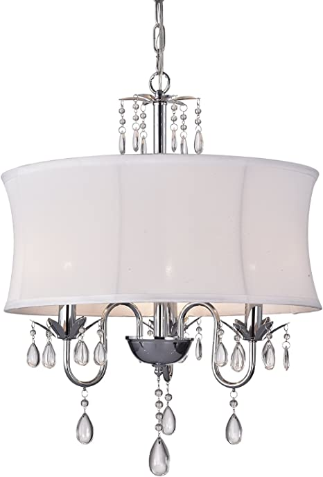 MODERN CONTEMPORARY WHITE DRUM SHADE /& CRYSTAL CEILING PENDANT LIGHTING FIXTURE
