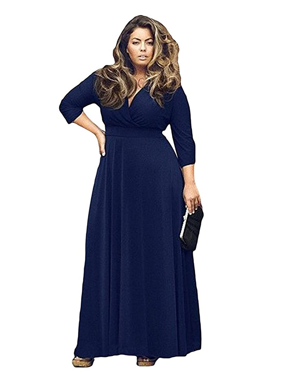 d33e81c594e ... curve while its empire waist and full length help hide tummies and  thick thighs subtly. FEATURES  PLUS SIZE EVENING DRESS FOR WELL-ROUNDED  LADIES - 3 4 ...