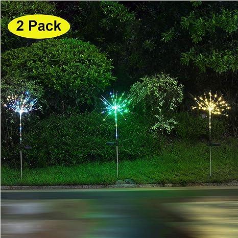 2 Pack DIY LED Solar Garden Light With Sensor Switch, Solar Battery  Operated Hanging Starburst