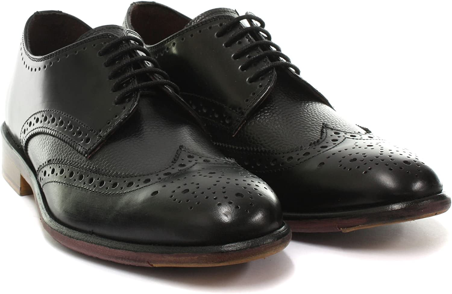 London Brogues Lincoln Derby Mens Leather Brogue Shoes