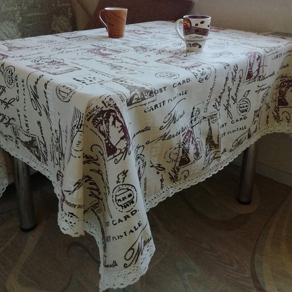 XHHWZB Impresión de la Torre Mantel Decorativo Mantel de algodón Mantel de Encaje Cubierta de Mesa de Comedor para la decoración del hogar de la Cocina ...