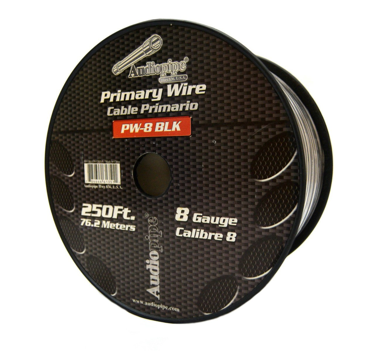 8 GA BLACK POWER WIRE PRIMARY GROUND 250FT COPPER MIX CABLE CAR AUDIO AMPLIFIER