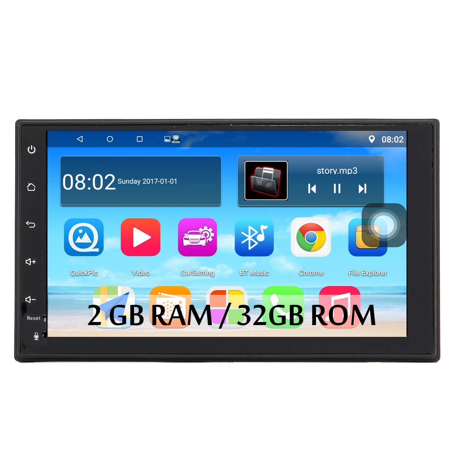 Panlelo S1 Android 2 DIN Universal 7 Pulgadas Car Stereo Touchscreen Navegación GPS Am/FM Radio 1024×600 Quad Core + 16G Car Audio Player WiFi Bluetooth 2USB Puerto Steering Wheel Control