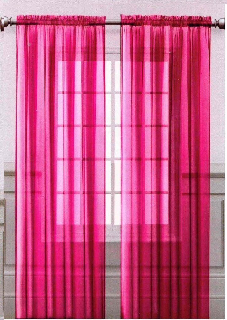 Onestopshop's Hot Pink Voile Sheer Panel Drape Curtain for Your Window Fully Stitched and Hemmed