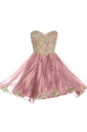 99Gown Prom Dresses Short Lace Prom Homecoming Dresses Affordable Beautiful Sparkly Dress, Color Dusty Rose