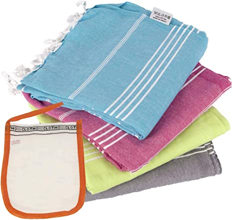 Amazon Com Clotho Turkish Towels Set Of 4 Beach Towels Oversized 100 Cotton 39 X 70 Inc Kitchen Dining