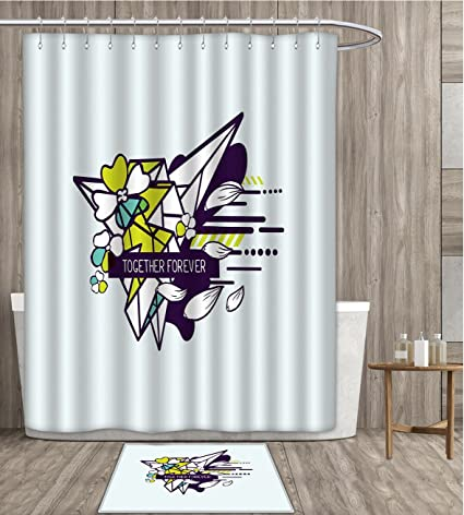 Romantic Shower Curtain Customize Together Forever Quote On Abstract Form Flowers And Geometric Shapes Fabric Bathroom