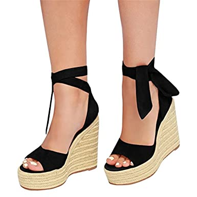 c75e5914082 Shele Womens Tie Up Suede Peep Toe Espadrille Platform Wedges Sandals  Classic Mid Heel Ankle Strap Shoes