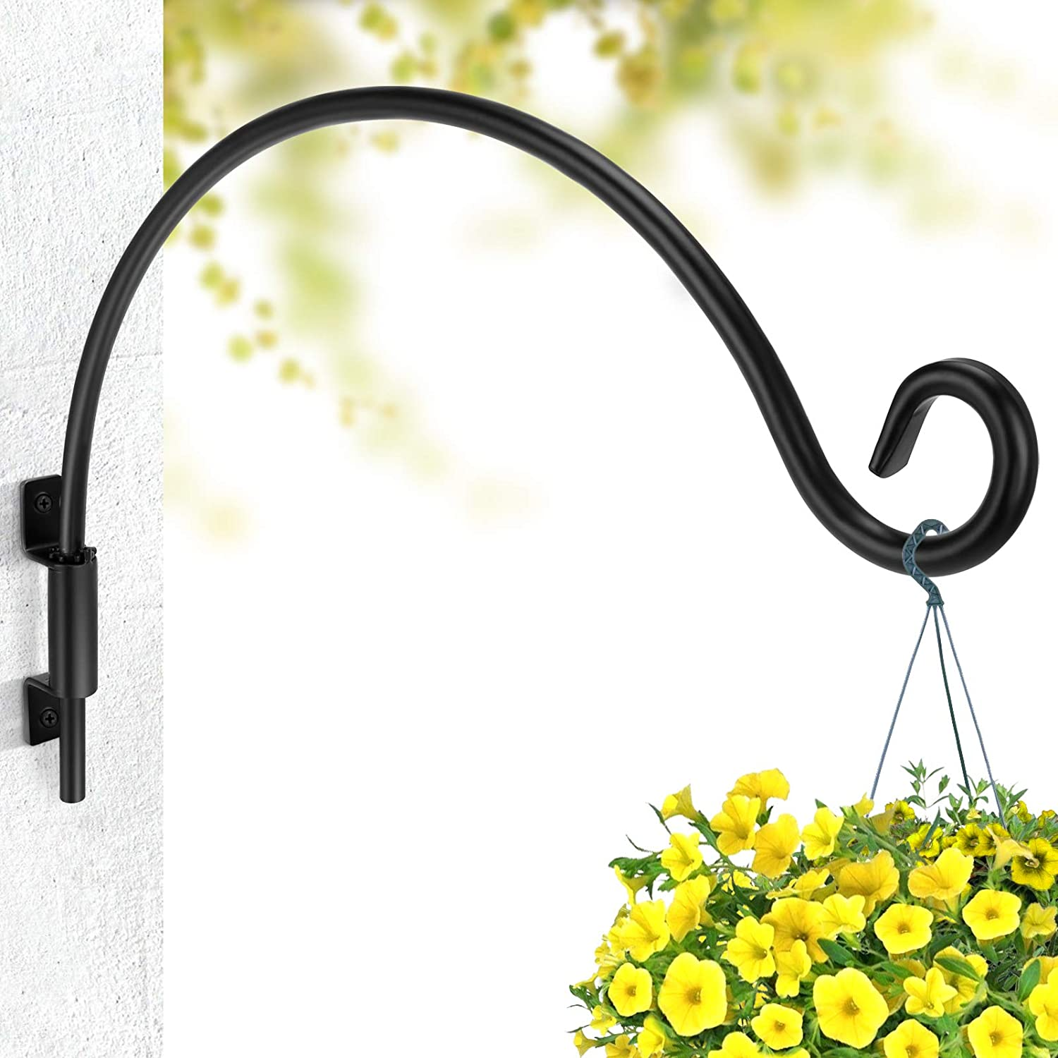 Plant Hook for Hanging Basket (12 inches-Black) Swivel Metal Hook for Hanging Plant or Bird feeders Wall Bracket Hook