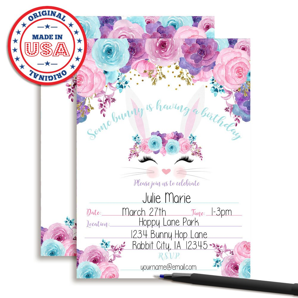 Amazon.com: Bunny Face with Pink Blue and Purple Watercolor Flowers ...