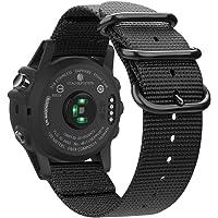 Fintie, armband, compatibel met Garmin Fenix 3, Fenix 3 HR, Fenix 5X, Fenix 5X Plus, nylon, ademende horlogeband, sportarmband, verstelbare reserveband met roestvrijstalen gespen, AA-zwart.