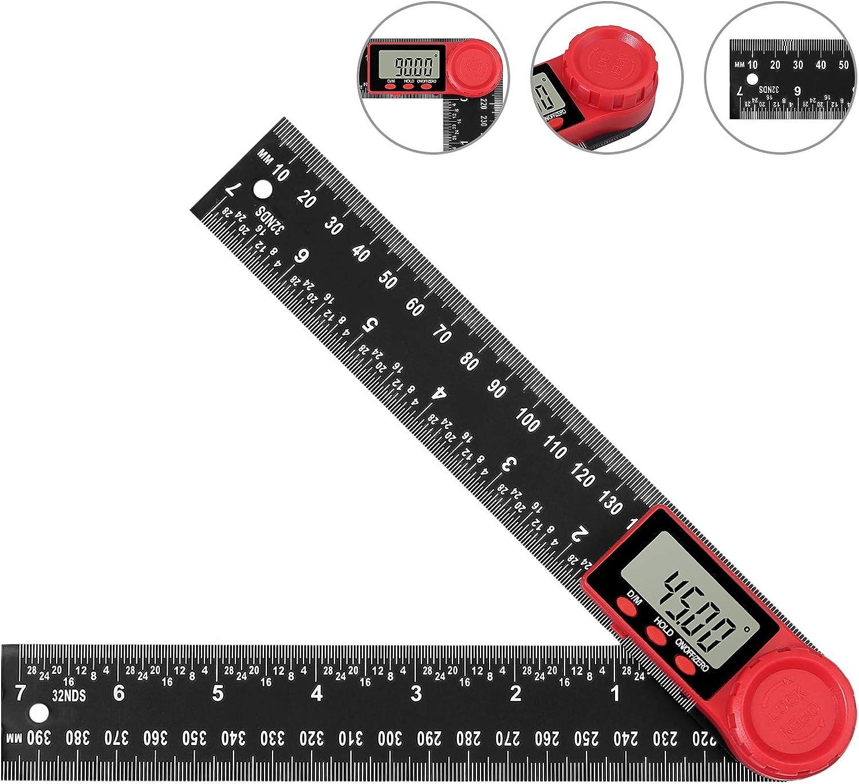 Proster D/étecteur dangle Num/érique 8 pouces 200mm Rapporteur R/ègle en plastique PVC affichage LCD Outils de mesure Jauge dangle