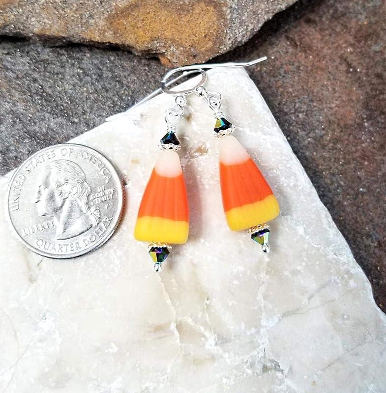 Glass Candy Corn Sterling Post Earrings