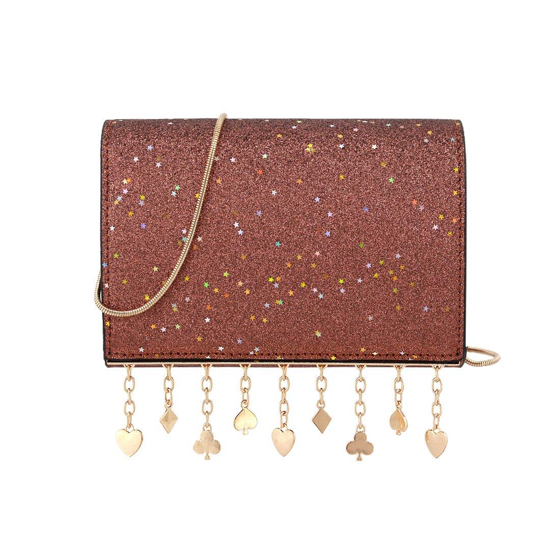 Gabrine Womens Girls Fashion Elegant Shoulder Crossbody Bag Handbag Clutch Purse Glitter Bling Sparkling Sequins Little Stars for Dailywear Wedding Party Prom Travel