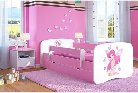 Bjird - Cama infantil (70 x 140 cm, 80 x 160 cm, 80 x 180 cm, 80 x 180 cm, con colchón anticaídas, con somier), color rosa