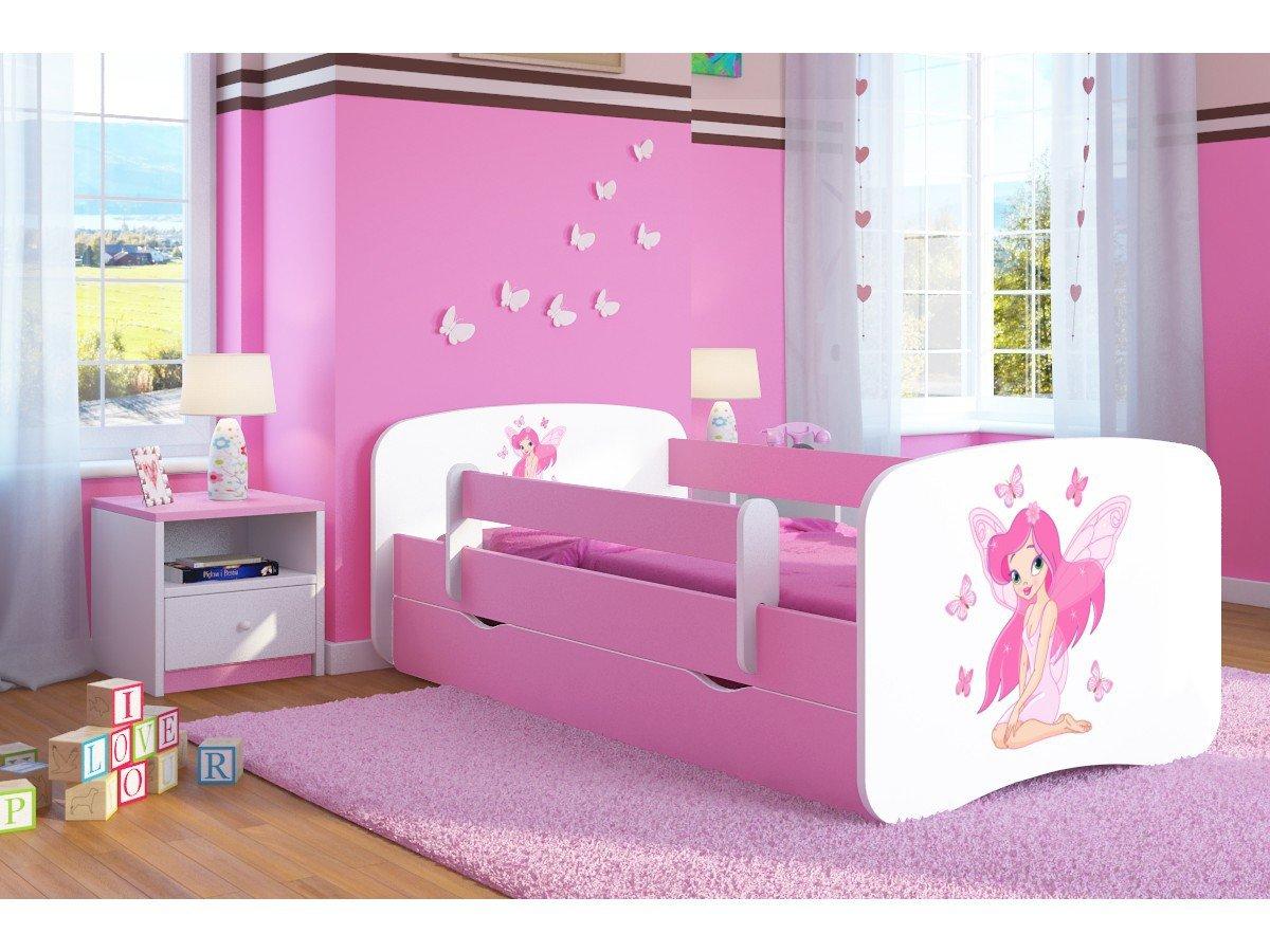 Kocot Kids Kinderbett Jugendbett 70x140 80x160 80x180 Rosa mit Rausfallschutz Matratze Schublade und Lattenrost Kinderbetten für Mädchen - Ballerina 140 cm