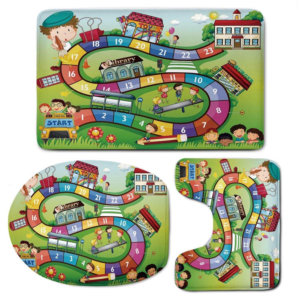 3 Piece Bath Mat Rug Set,Board-Game,Bathroom Non-Slip Floor Mat,School-Kids-on-Bus-Playing-in-Garden-Educational-Games-Library-Toys-Icons-Print-Decorative,Pedestal Rug + Lid Toilet Cover + Bath Mat,Mu