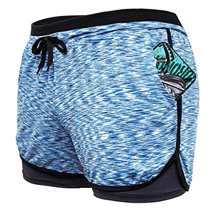 Amazon.com: SLTY - Pantalones cortos deportivos de doble ...
