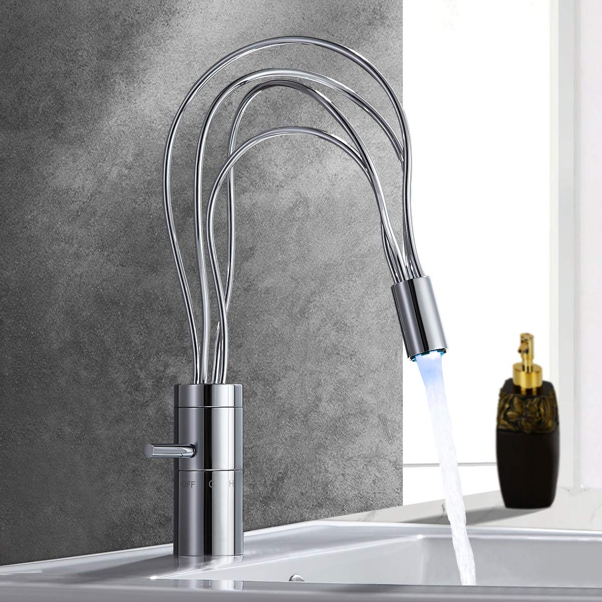Jiuzhuo Modern Single Handle Single Hole Nest LED Bathroom Sink Faucet