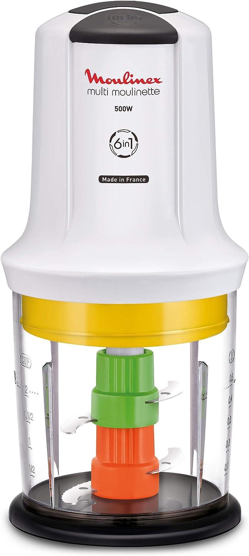 Moulinex Multimoulinette Picadora 6 en 1, 500 W, De plástico, 2 Velocidades, Blanco