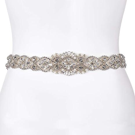dd6c4acd77 Crystal Rhinestone Wedding Belts Bridal Sash Belt 22 Inch beaded part For  Bridal Gowns (Silver-ivory)