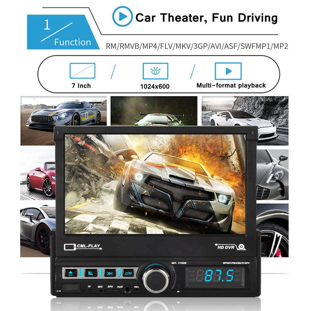 CarThree Single din Touch Screen car Stereo 7 Inch Car Radio Touch Screen with Backup Camrea FM Radio Steering Wheel Controls Bluetooth AUX//USB//TF MP5 Player 1080P Single din car Stereo for SUV Car