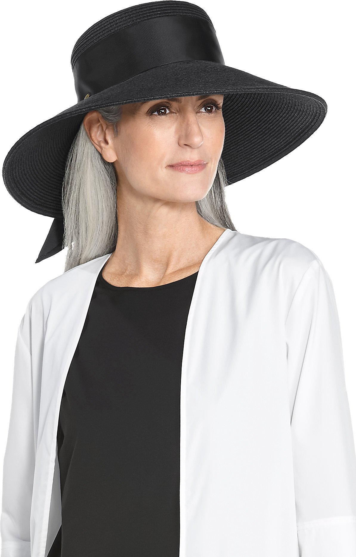 Coolibar UPF 50+ Women's Wide Brim Straw Hat - Sun Protective (One Size- Black)