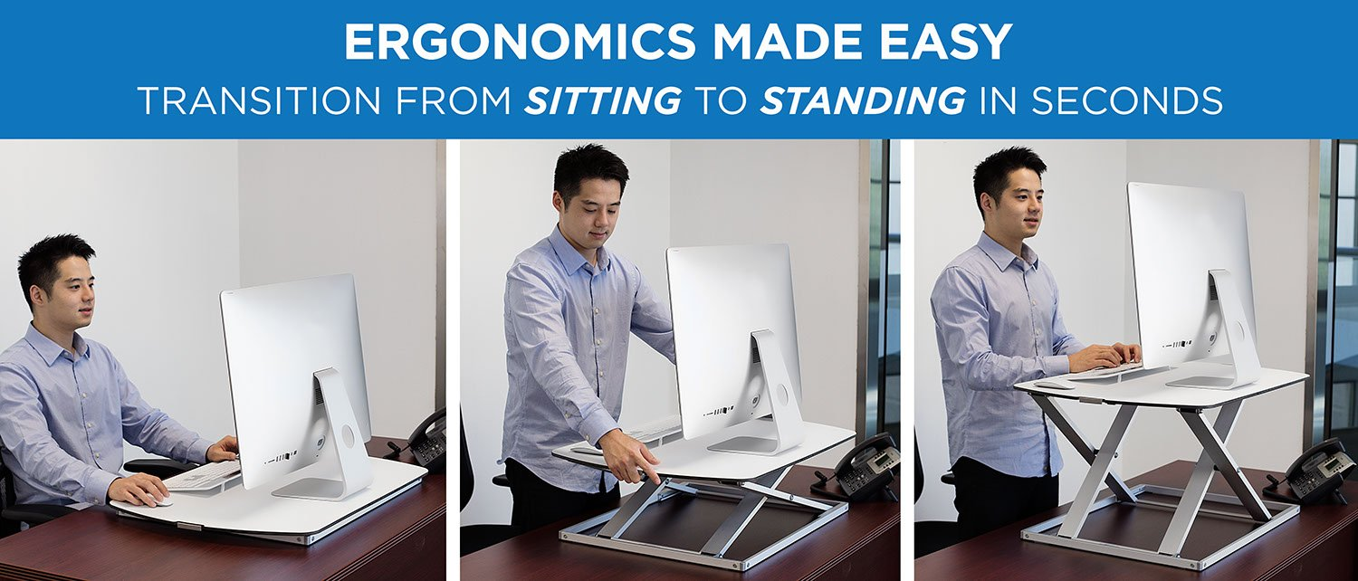 Mount It Sit Stand Desk Converter Ergonomic Height Adjustable