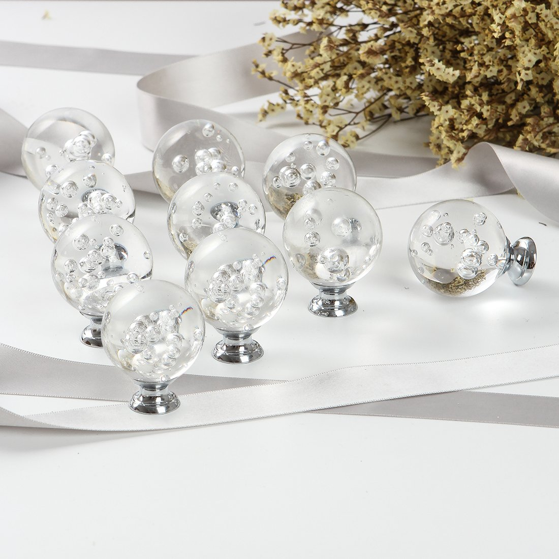 CZC HOME 10 PCS 40MM Bubbles Ball Crystal Cabinet Pulls Handle Glass Knobs Bathroom Dressers Drawers Cupboard (Transparent) by CZC HOME (Image #5)
