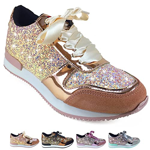 Barcelonetta Women Glitter Fashion Sneakers Sparkle Tennis Shoes