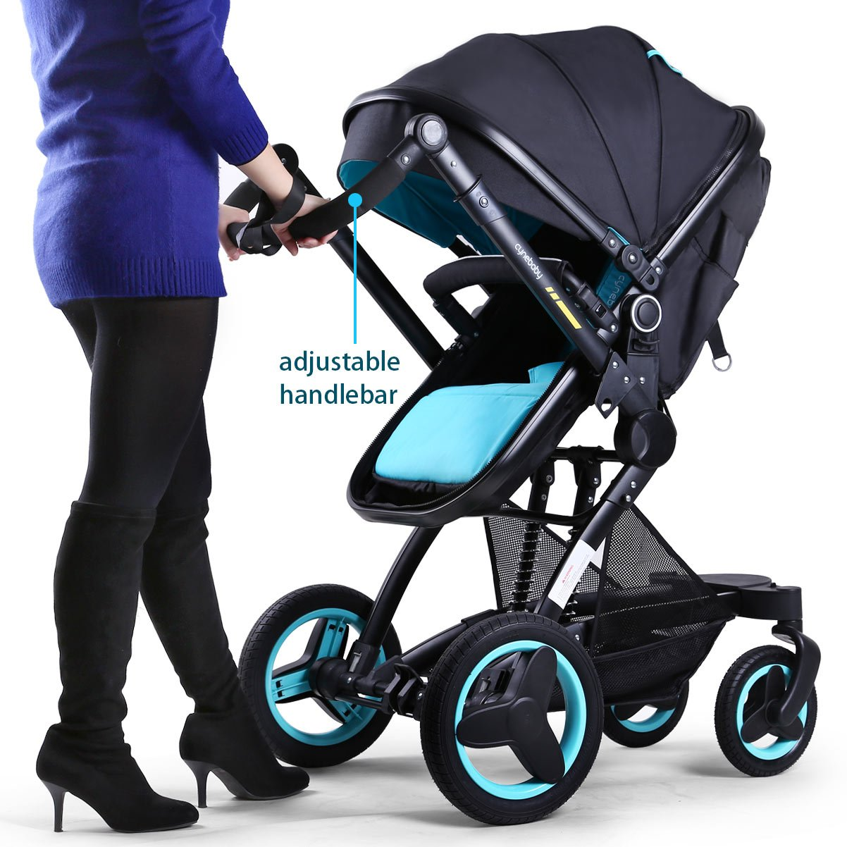 Baby stroller travel system folding pram pushchair infant toddler carriage high landscape (blue) by Cynebaby (Image #5)