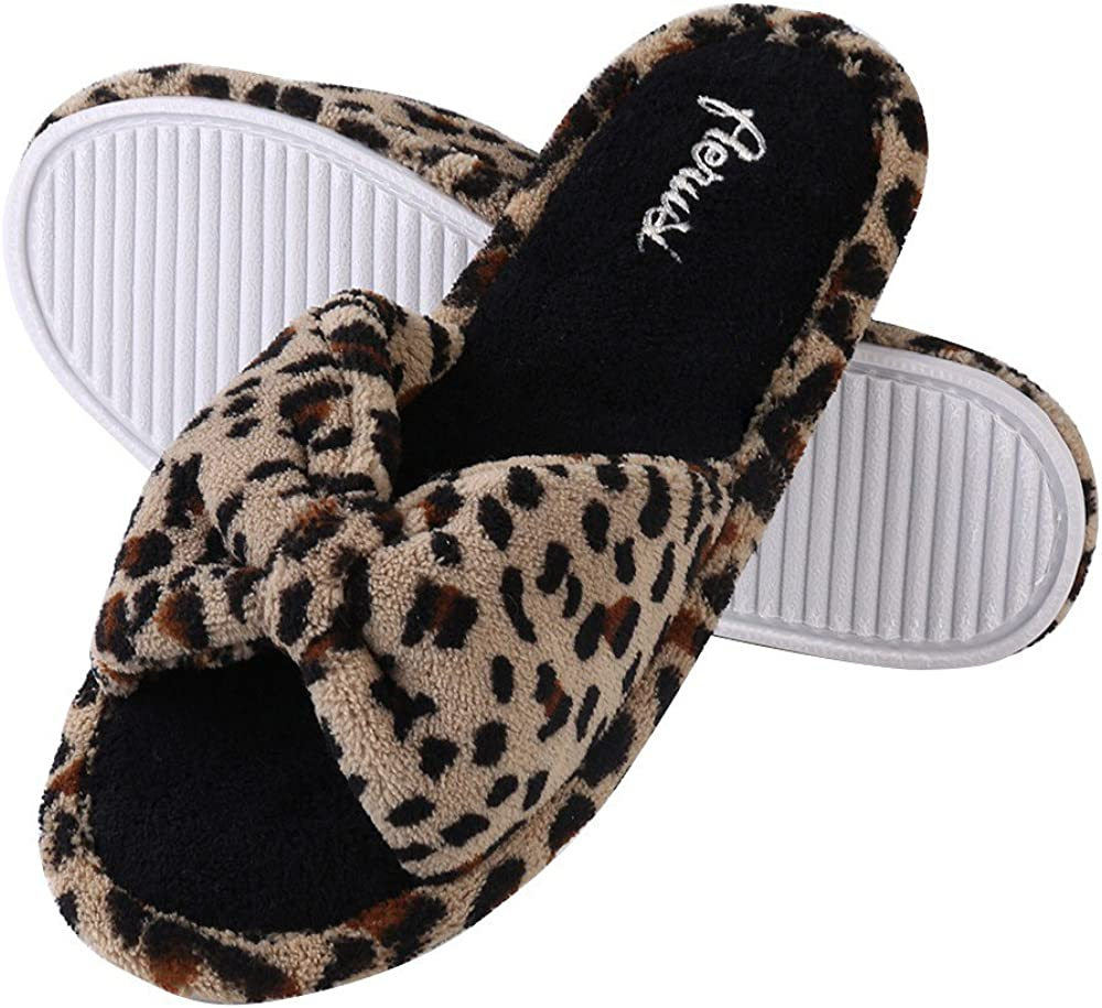 Aerusi Women's Leopard Bow Tie Cozy Comfy House Bedroom Indoor Slide Slipper