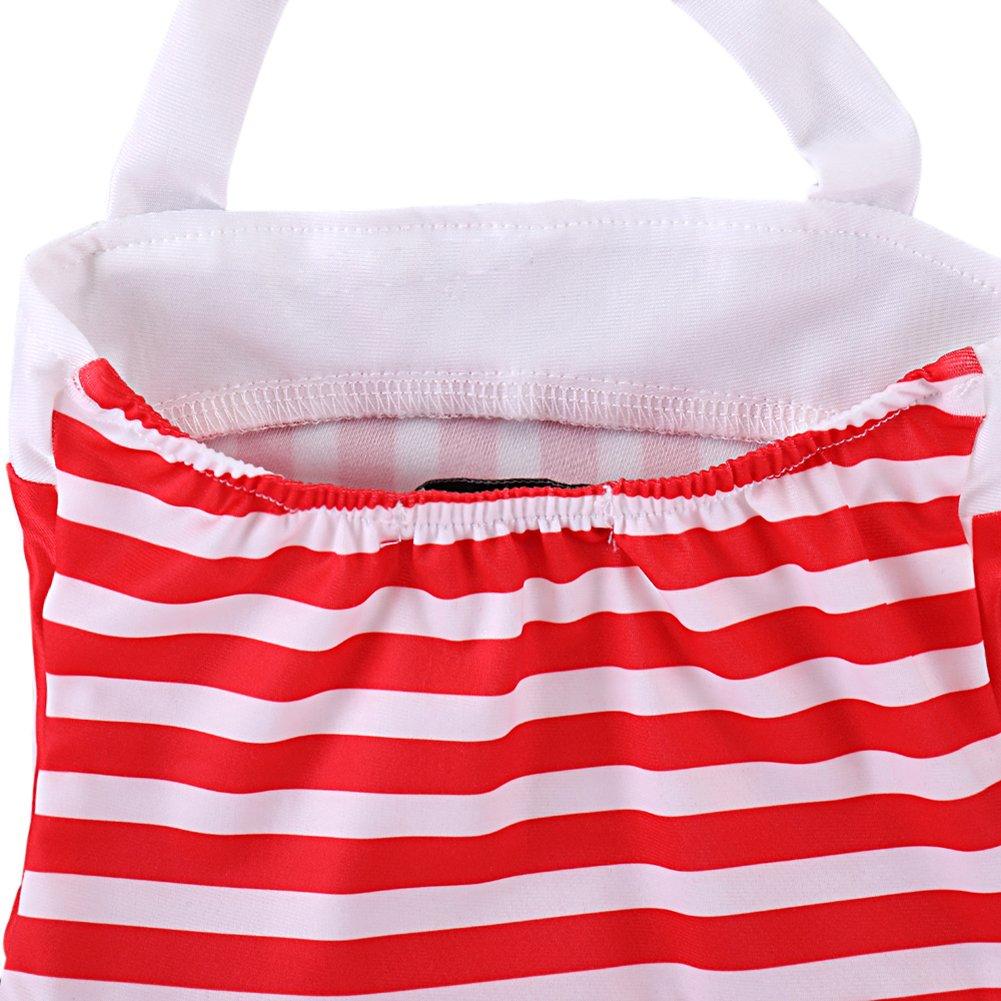 Brightup Ragazze del Bambino Un Pezzo Costume da Bagno Rosso e Bianco Strisce Costume da Bagno a Strisce Nuoto